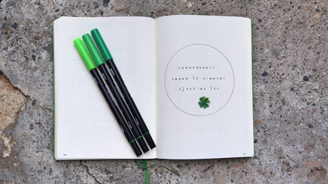 bullet journal minimalistic september
