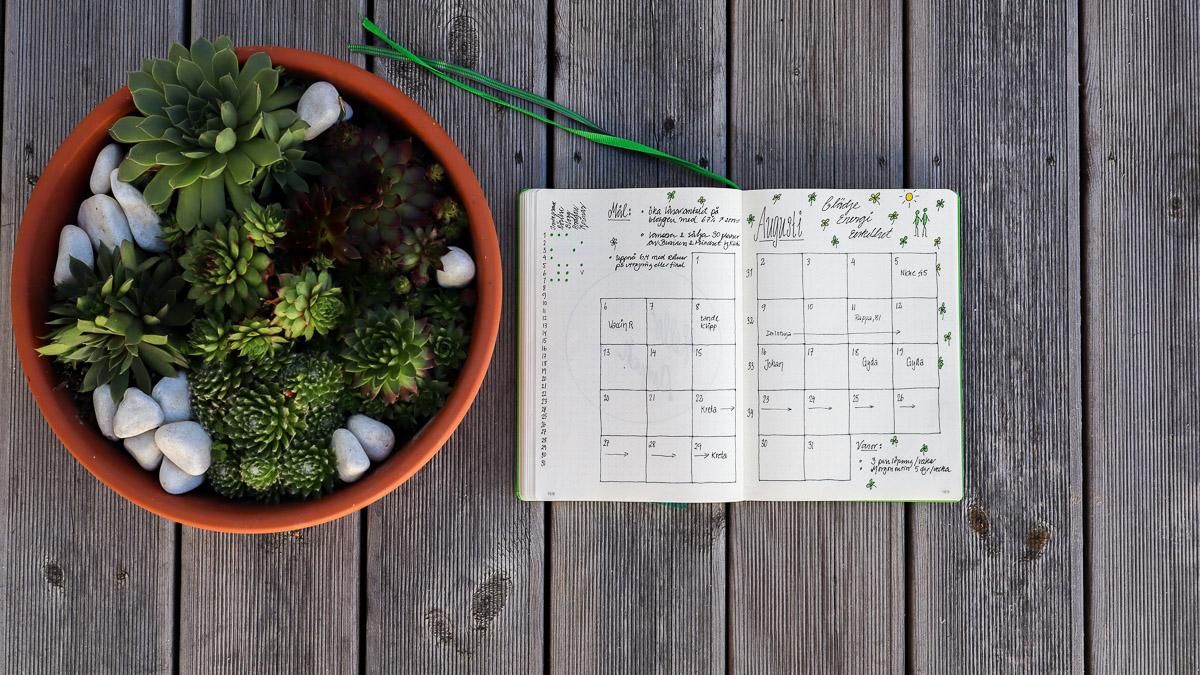 Bullet Journal – månadsplanen för augusti